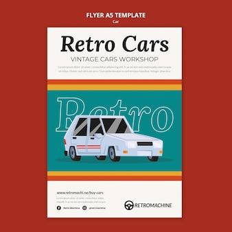 Szablon ulotki warsztatowej retro samochodów