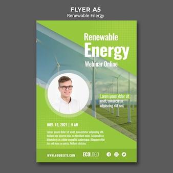 Szablon ulotki webinarium na temat energii odnawialnej
