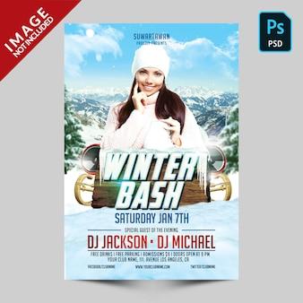 Szablon ulotki winter bash party
