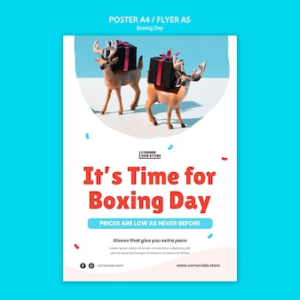 Szablon ulotki wyprzedaży w boxing day