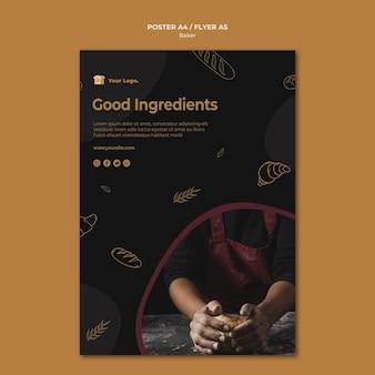 Szablon ulotki z dobrymi składnikami piekarza