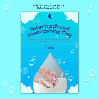 Szablon ulotki z koncepcją globalnego dnia mycia rąk