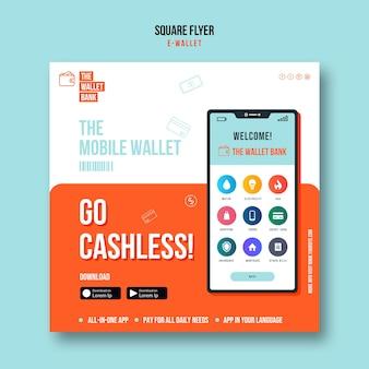 Szablon ulotki z kwadratowym portfelem mobilnym