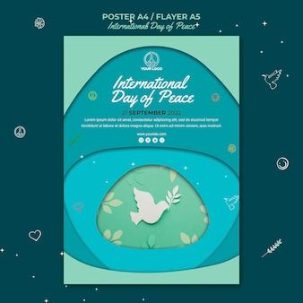 Szablon ulotki z okazji międzynarodowego dnia pokoju