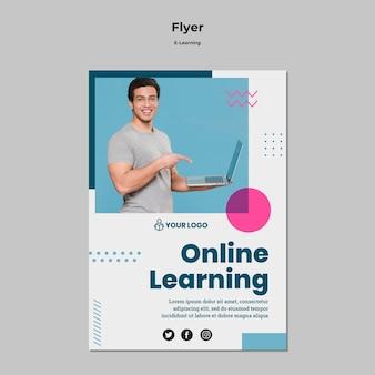 Szablon ulotki z projektem e-learningu