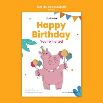 Szablon ulotki zaproszenie na urodziny