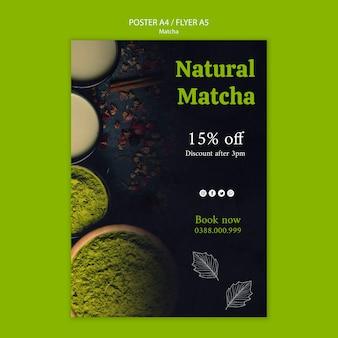 Szablon ulotki zielonej herbaty matcha