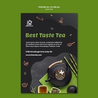 Szablon ulotki zielonej herbaty