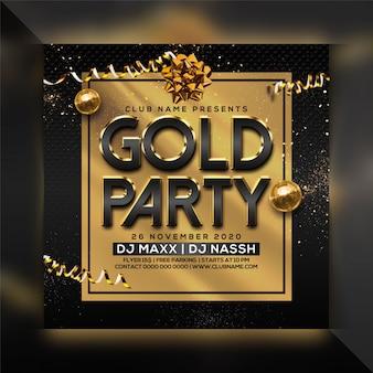 Szablon ulotki złoty party