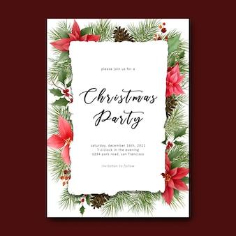 Szablon wesołych świąt bożego narodzenia z dekoracjami z liści sosny i ozdób choinkowych