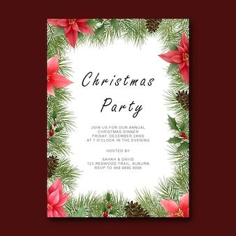 Szablon wesołych świąt z elegancką dekoracją z liści sosny
