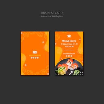 Szablon wizytówki dla restauracji sushi