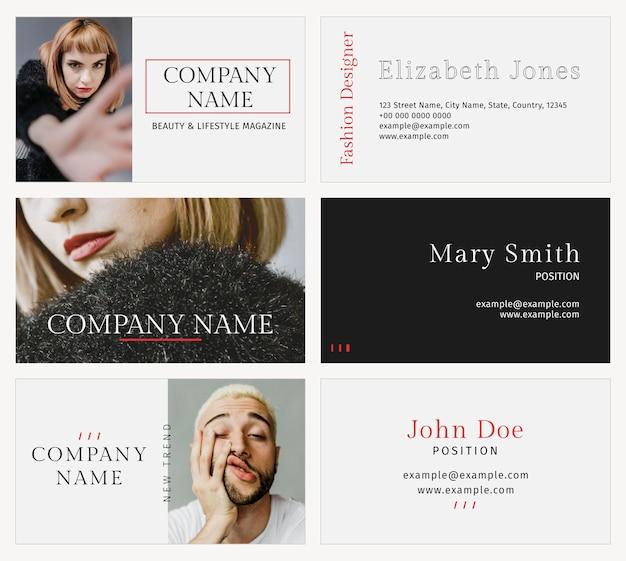 Szablon wizytówki psd dla profesjonalnego zestawu projektantów mody