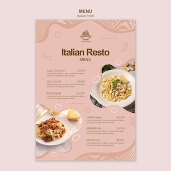 Szablon włoskie jedzenie mneu
