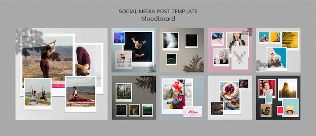 Szablon wpisów w mediach społecznościowych moodboard