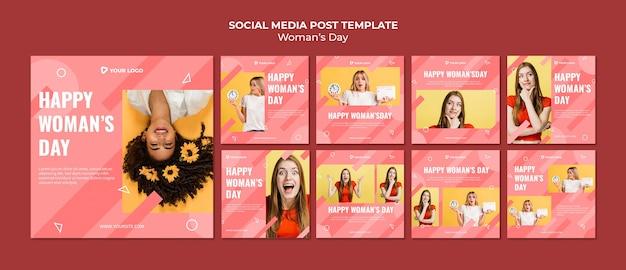 Szablon wpisów w mediach społecznościowych na dzień kobiety