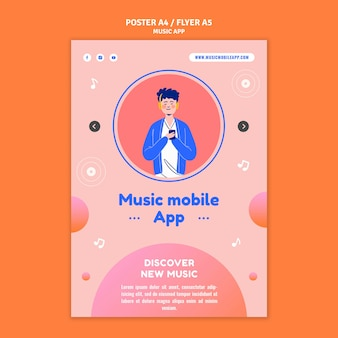 Szablon wydruku aplikacji mobilnej muzycznej