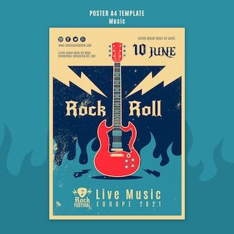 Szablon wydruku festiwalu muzyki rockowej