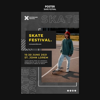 Szablon wydruku festiwalu skate