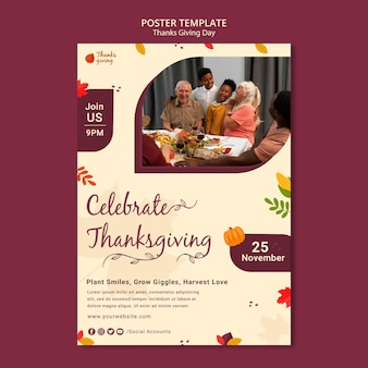 Szablon wydruku jesiennego dnia dziękczynienia
