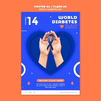 Szablon wydruku pionowego światowego dnia cukrzycy