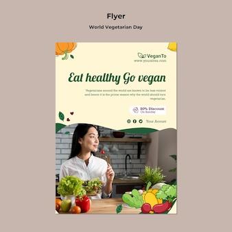 Szablon wydruku pionowego światowego dnia wegetariańskiego