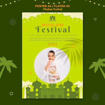 Szablon wydruku plakatu arabskiego muzułmańskiego festiwalu