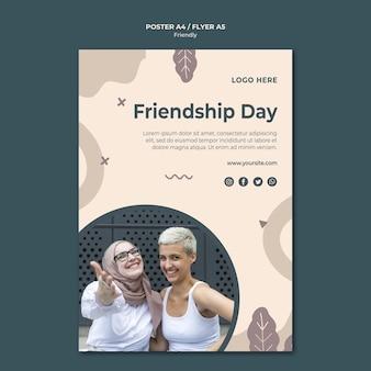 Szablon wydruku plakatu dzień przyjaźni