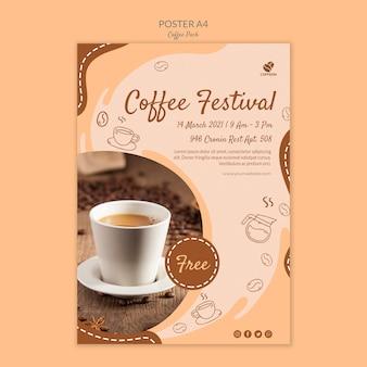 Szablon wydruku plakatu festiwalu kawy