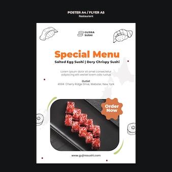 Szablon wydruku plakatu menu specjalnej restauracji sushi