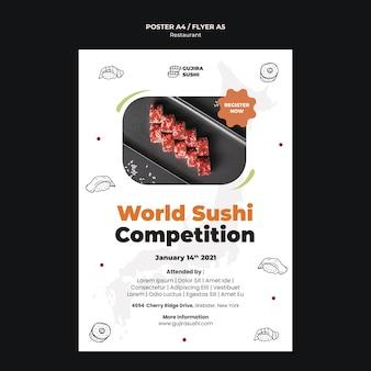 Szablon wydruku plakatu restauracji sushi