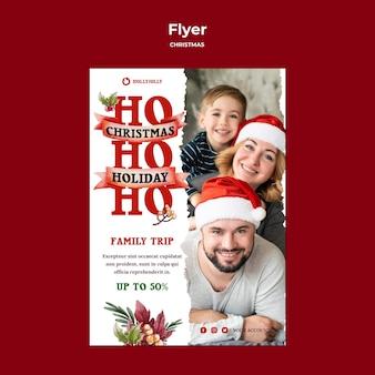 Szablon wydruku plakatu rodzinnej świątecznej podróży