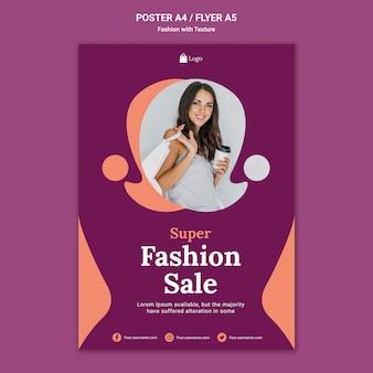 Szablon wydruku plakatu sprzedaży mody