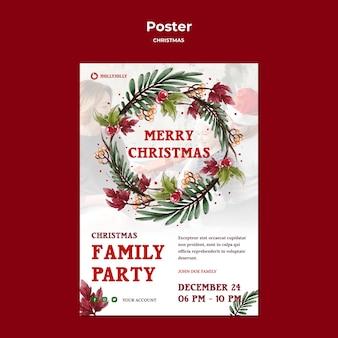 Szablon wydruku plakatu świąteczny wieniec