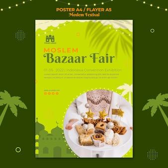Szablon wydruku plakatu targowego targów muzułmańskiego bazaru