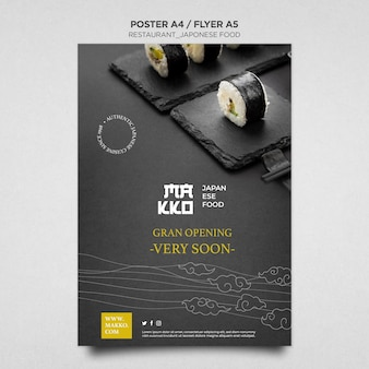 Szablon wydruku plakatu wielkiego otwarcia restauracji sushi