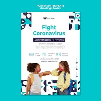Szablon wydruku pozdrowienia koronawirusa ze zdjęciem