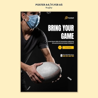 Szablon wydruku rugby ze zdjęciem