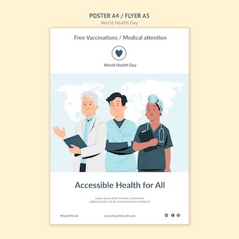 Szablon Wydruku światowego Dnia Zdrowia Darmowe Psd