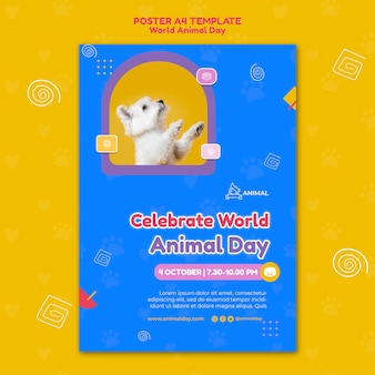 Szablon wydruku światowego dnia zwierząt