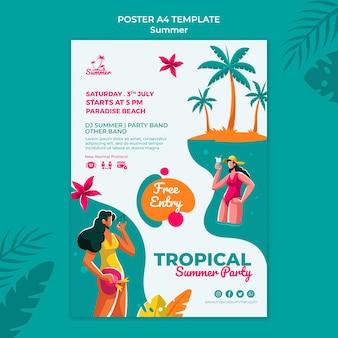Szablon wydruku tropikalnej letniej imprezy