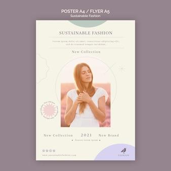 Szablon wydruku ulotki o zrównoważonej mody