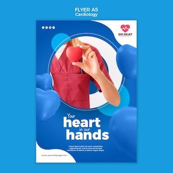 Szablon wydruku ulotki opieki zdrowotnej kardiologii