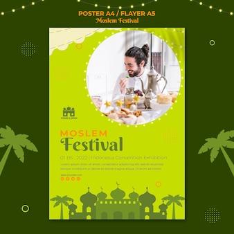 Szablon wydruku ulotki tradycyjnego festiwalu muzułmańskiego