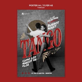 Szablon wydruku ulotki wydarzenie tango