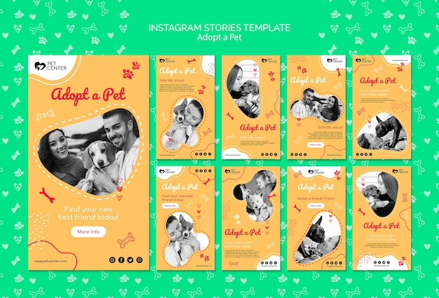 Szablon z adoptuj historie zwierząt domowych na instagramie