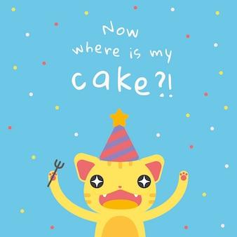 Szablon z życzeniami urodzinowymi dla dzieci psd z uroczą głodną kreskówką dla kota