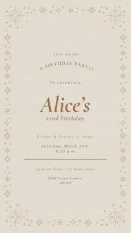 Szablon zaproszenia na przyjęcie online psd świętowanie urodzin