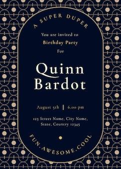 Szablon zaproszenia na przyjęcie urodzinowe psd ze złotym stylem art deco