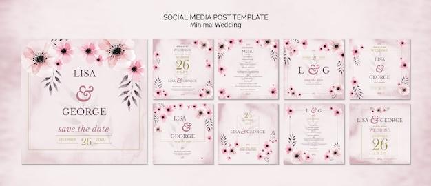 Szablon zaproszenia ślubne mediów społecznościowych